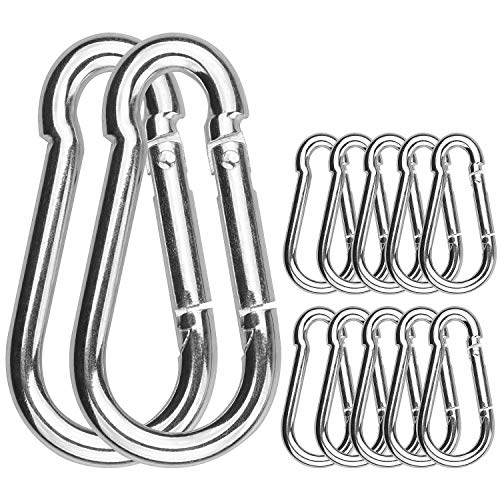 30 Pack Spring Snap Hooks, 260Lbs Load Capacity Zinc-Galvanized Steel Quick Link, M6x 60MM Keychain Carabiner Clips for Swing and Hammocks, Perfect for Backpack, Ropes, Camping and Hiking