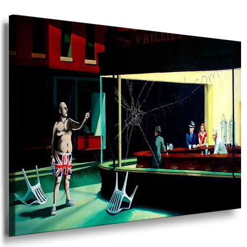 Banksy Streetart Graffiti Leinwand Bild 120x80cm / Leinwandbild Nighthawks fertig auf Keilrahmen/Leinwandbilder, Wandbilder, Poster, Pop Art Gemälde, Kunst - Deko Bilder