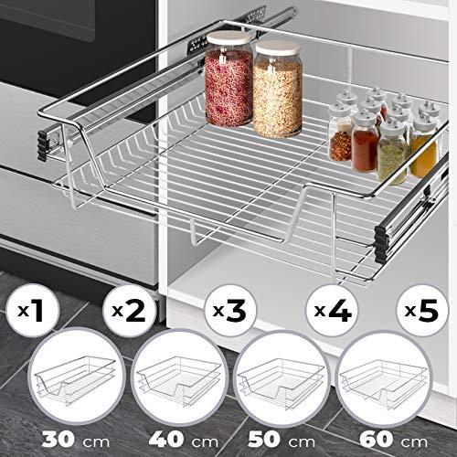 Teleskopschublade (30/40/50/60cm) 2er Set - Verchromt, für Küchen oder Schlafzimmerschränke in verschiedenen Breiten - Halter, Ständer, Schublade, Korbauszug, Schrankauszug, Schubladeneinsätze