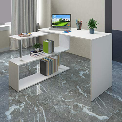 Home L-Shaped Computer Desk W/ 2 Tier Storage Shelves $105.00 (80% OFF Coupon)