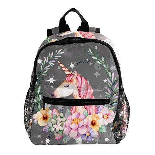 Mini Zaino Ghirlanda di unicorno incandescente Zaino Scuola Impermeabile Daypack Per Bambino Adatto A Ragazzi E Ragazze Di 3-8 Anni 25.4x10x30CM