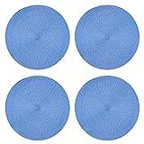 Tischset 4er Set rund 35 cm Ø Bleu hochwertige Platzset abwaschbar Platzdeckchen geflochtene Optik Untersetzer