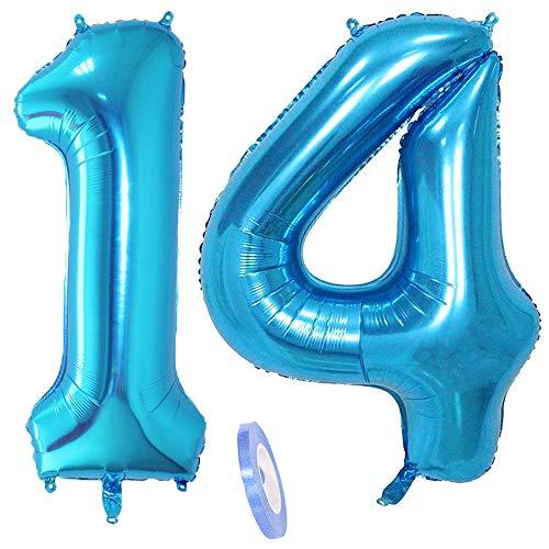 2 globos numeros 14, número 14 azul niñas niño infantil ,40 figuras globo inflable gigante grande de papel de helio number globo azules para cumpleaños 14 años niños decoración de fiesta (xxxl 100cm)