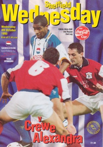 Sheffield Wednesday v Crewe Alexandra Official Match Day Programme - Coca Cola Cup 2nd Round 2nd Leg (Wednesday 4th October 1995)