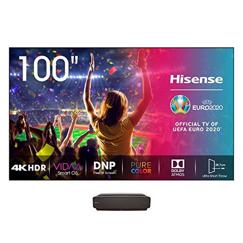Hisense Laser TV 100  con schermo luminoso 350nit, Risoluzione 4K, HDR10, Smart TV VIDAA 4.0, Dolby Atmos, 2700 Lumen, Alexa Integrata, tivùsat 4K, Installazione Gratuita