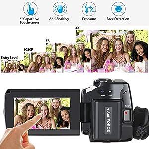 "Videokamera 4K Camcorder Ultra HD Wi-Fi Digitalkamera 48MP IR-Nachtsicht 16X Digitalzoom Recorder 3,0""IPS Touchscreen Vlog-Kamera für YouTube mit Mikrofon, Weitwinkelobjektiv, 2 Batterien"