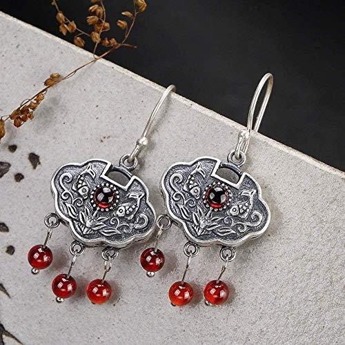 Pendientes vintage S925 Mujeres de plata esterlina Piscis Lotus Wishful Flecos granate Temperamento elegante Regalo de gama alta Pendientes de jade