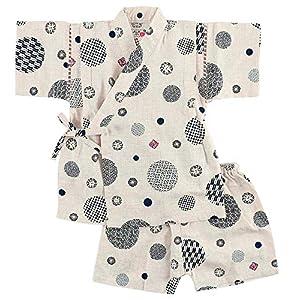 水玉柄 男の子 甚平スーツ 日本製生地 綿100% キッズ トドラー ベビー (130cm, ベージュ)
