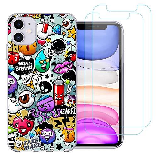 jrester Funda para iPhone 11, Animal 438 Transparente Silicona Smartphone Cascara Protectora para iPhone 11 6.1'' con Dos Pelicula Protectora Vidrio Templado
