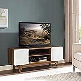 Modway Tread Mid-Century Modern 47 Inch TV Stand in Walnut White