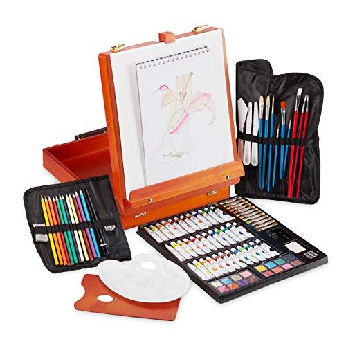 Relaxdays Malkoffer, 74-teiliges Malset, klappbare Tischstaffelei, Farben Set Acryl, Öl, Künstlerkoffer aus Holz, orange