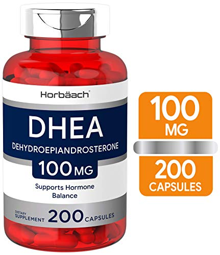 DHEA 100mg | 200 Capsules | Non-GMO, Gluten Free Supplement | by Horbaach