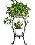 TREEZITEK 2 Tier 28.4inch Tall Metal Plant Stand Flower Pot Stand Rack 11.8 inches Diameter Holds Big Heavy Plants,Black