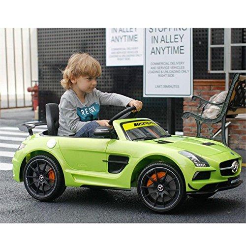 RC Auto kaufen Kinderauto Bild 3: Mercedes-Benz SLS AMG viele LED Effekte Soft Start Kinderauto Kinderfahrzeug Kinder Elektroauto (Grün)*