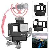 Artman Protective Housing Case Vlogging Frame Cage Mount with Microphone Cold Shoe Adapter Compatible with GoPro Hero 7/6/5 Black,Hero 2018 Action Camera Accessories(Microphone Adapter Not Included)
