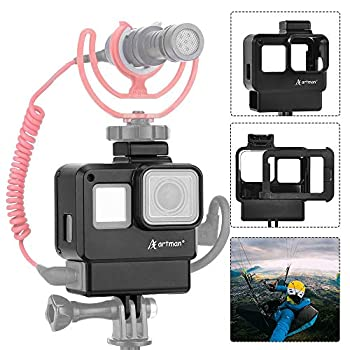 Artman Vlogging Housing Case Frame Cage Mount with Microphone Cold Shoe Adapter Compatible with GoPro Hero 7/6/5 Black Hero 2018 Action Camera Accessories Microphone Adapter Not Included