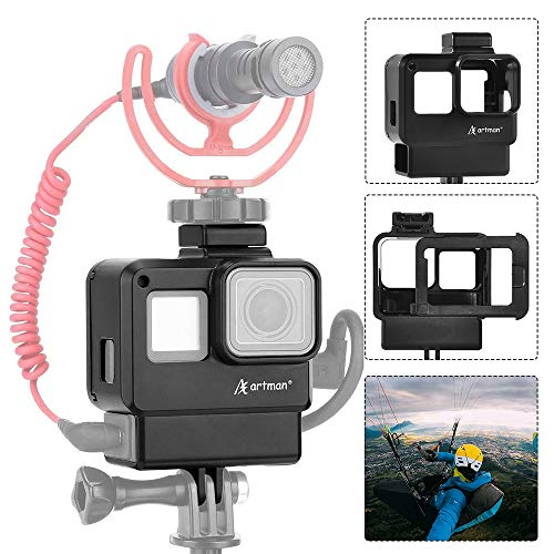 Artman Vlogging Housing Case Frame Cage Mount with Microphone Cold Shoe Adapter Compatible with GoPro Hero 7/6/5 Black, Hero 2018 Action Camera Accessories(Microphone Adapter Not Included)