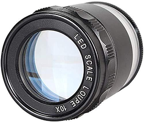 Lupa Negro con luz LED, girando Lupa HD para los Ancianos, joyería Lupas Lupa Cilindro de Vidrio 10x de Aumento de Mano de la Lupa
