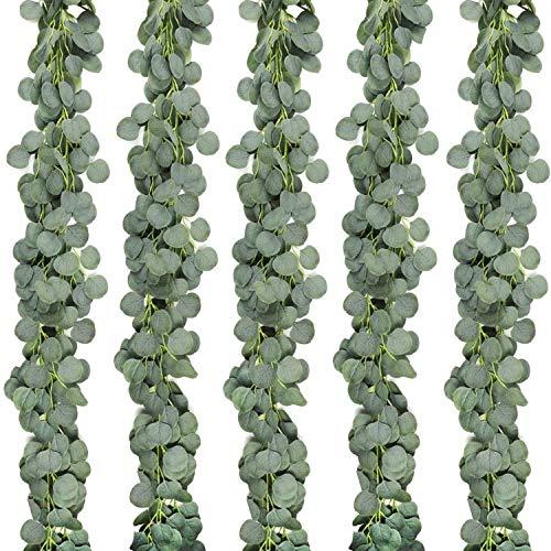 SODIAL 5 Paquetes de Corona de Eucalipto Artificial Enredadera Enredadera de Eucalipto para DecoracióN de JardíN de Banquetes de Boda