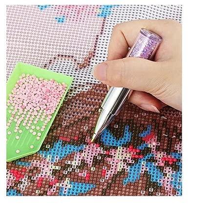 Yklookerr Bolígrafo de cristal con forma de lápiz labial, pintura de diamante, para manualidades, costura, hogar, 3 colores (morado)