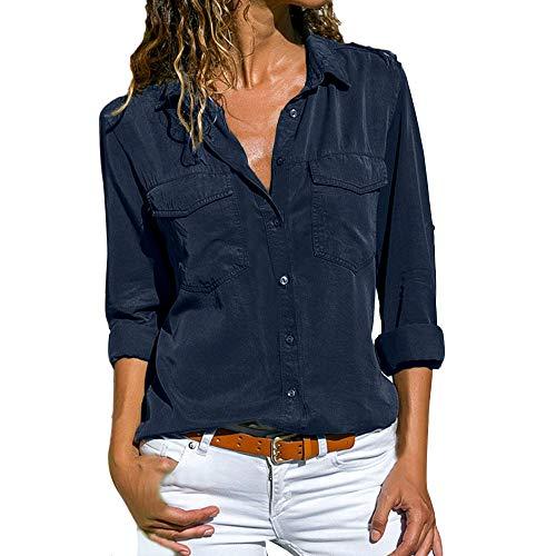 KUDICO Damen Lässige Tops Lange Ärmel Lapel Taschen Knopf Shirt T-Shirt Bluse(Marine, EU-48/CN-5XL)