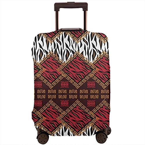 Maleta de viaje protector rojo marrón piel de animales rayas nativas cubierta de equipaje protectora de viaje Maleta elástica cubierta protectora para equipaje de 18 a 21 pulgadas
