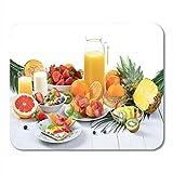 Mauspads Bunte Tabelle gesundes Frühstück frisches Obst Knäckebrot magerer Schinken Mauspad für Notebooks, Desktop-Computer Matten Office Supplies