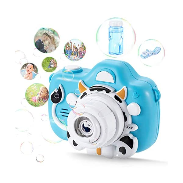 Bubble Machine Kids Bubble Maker – Automatic Camera Bubble Blower, Portable Bubble Toys with Colorful Light, Toys with bubble solution, Birthday Gift Party Favors for Kids Summer Indoor Outdoor