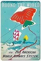 ラウンド世界凧ティンサイン装飾ヴィンテージ壁金属プラークレトロアイアン絵画カフェバー映画ギフト結婚式誕生日警告