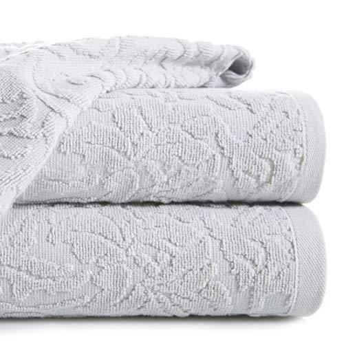 Eurofirany handdoek katoen zacht 70x140 cm Marokkaans patroon borduurset 3-pack Oeko-Tex, zilver, 70x140cm, 3