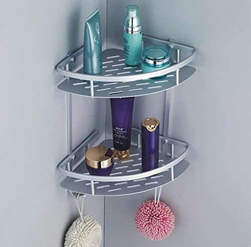 Queen's Salle de bains WC Espace en aluminium de casiers doubles étagère de coin Triangle des plaques en aluminium bols 22*22*36cm