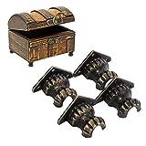 Fdit 4 Piezas de latón Antiguo joyería Cofre Caja de Madera Decorativa Bronce pies Pierna Esquina Protector Hardware