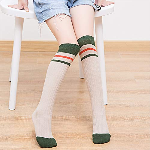 Calcetines de Compresión Rodilleras de rayas a juego Calcetines for niños Niñas Vestidos de tubo a rayas Sobre la rodilla Muslo Medias altas Calcetines Algodón cálido y transpirable para Hombre y Muje