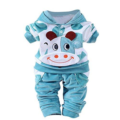 Fossen 2 Piezas/Conjunto Ropa Invierno Bebé Niños Niña Terciopelo Camiseta con Capucha de Vaca de Dibujos Animados y Pantalones