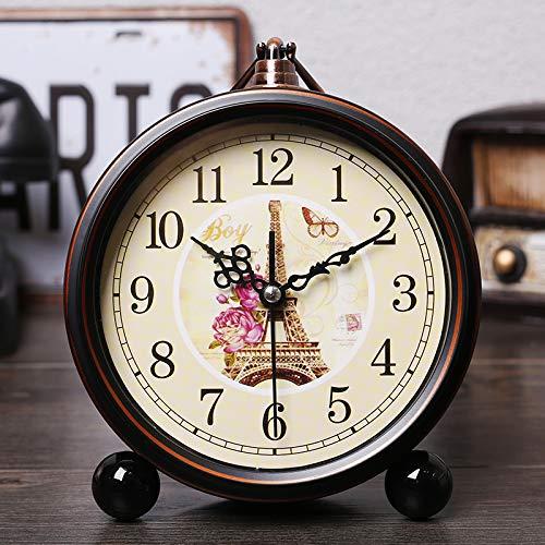 Luxuryclock Polaroid American Country Rétro-Nostalgie Réveil Chevet Métal Silence Réveil Créatif Personnalité Chambre Simple Alarme Montre, Flair Français