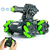 VERTOY RC Tank Car Toys for 6 7 8 9 10 Years Old Boys, STEM Remote Control Car 180° Rotating Stunt, 2.4GHz All Terrain Shooting Water Marbles Truck Kits, Birthday Gifts for Kids Age 6-12