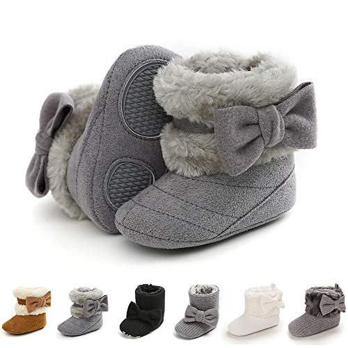 E-FAK Baby Girl Winter Snow Bowknot Boots Anti-Slip Soft Sole Warm Newborn Infant Toddler Prewalker Boots(B/Grey, 12-18 Months)