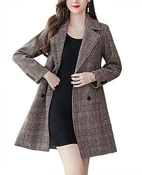 chouyatou Women s Winter Thick Double Breasted Belt Plaid Mid-Long Wool Pea Coat  Medium Khaki