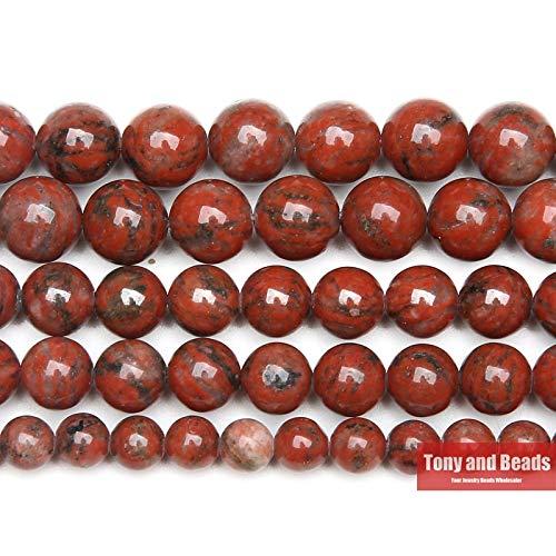 YUNHE 9Th Ago Piedra Natural Sésamo Rojo Jaspers Ronda Perlas Sueltas 15 'Strand 6 8 10 12mm Pick Size para la fabricación de joyas