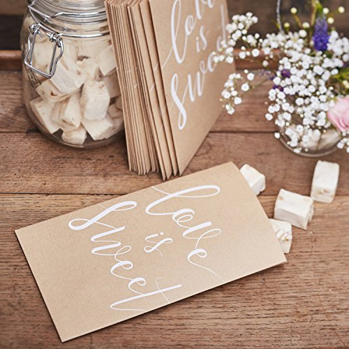 Ginger Ray- Wedding Favour Bags 20 Pack Paese Rustico, Bianco, CW-237