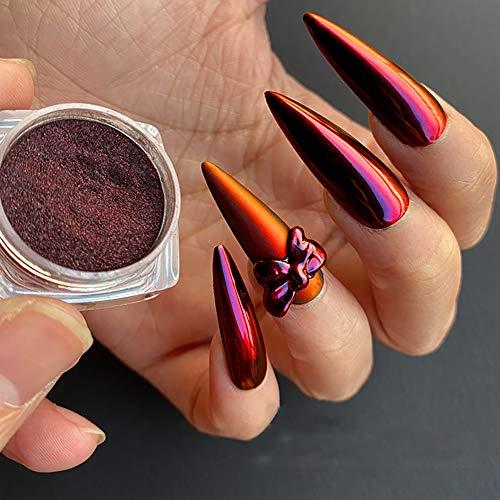 QIMEIYA 1 Boîte Poudre Miroir Ongle Chromé Pigment Gradient rouge Poussière de Paillettes Poudre
