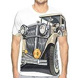 JJIAYI Mens 3D Printed T Shirts,Vintage Vehicle Design Retro Car Hand Drawn Digital Classical Automobile Print M