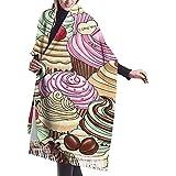 Elaine-Shop Bufanda para mujer Cupcakes Bufanda clásica a cuadros con borlas Bufanda cálida de otoño e invierno