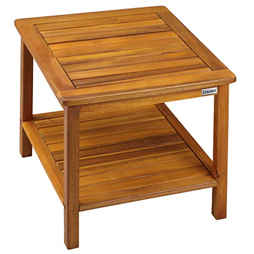 Deuba Garden Table Wooden Side Tables Patio Acacia Wood Outdoor Indoor Conservatory Coffee Snack 45 x 45 cm