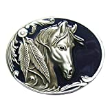 Photo de JEAN'S FRIEND New Vintage Blue Enamel Rodeo Horse Head Western Oval Belt Buckle Boucle de ceinture