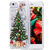 Flocute iPhone 6 Case, iPhone 6s Glitter Christmas Case Clear Bling Sparkle Floating Liquid Soft TPU Luxury Fashion Girls Women Cute Holiday Case for iPhone 6 6s 7 8 SE 2th 4.7 inch (Christmas Tree)