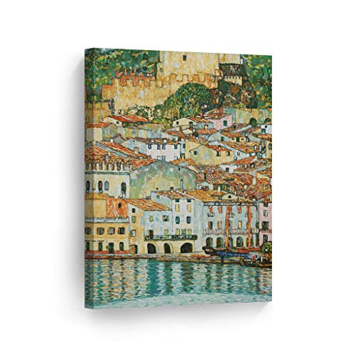Smile Art Design Malcesine on Lake Garda by Gustav Klimt Canvas Print Wall Art Famous Art Painting Reproduction Fine Art Oil Paintings Modern Art Home Decor Ready to Hang- Made in The USA- 28x19