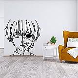 Anime Cartoon Manga Tokyo Zombie Mask Ghost Ghoul Half Face Kaneki Ken Vinilo Etiqueta de la pared Calcomanía para coche Boy Fans Dormitorio Sala de estar Decoración para el hogar Mural