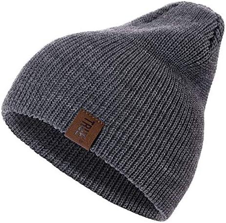 1 stks hoed brief casual mutsen for mannen vrouwen warme gebreide winter hoed mode solide hiphop beanie hoed unisex cap ColorDark Gray Size54cm 60cm