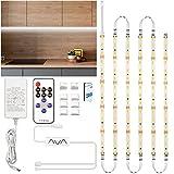 Tira LED Blanca Frio 3m, Enteenly para Debajo de Los Armarios, Kit de Luz Led con Mando a Distancia para Vitrina, Cocina, Escritorio, Estantería, Armario, Iluminación de Fondo, 6500K